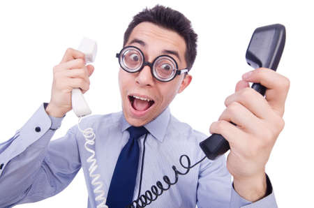 crazy man: Crazy man with phone on white