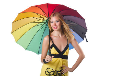 Young woman with colourful umbrella photo