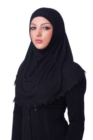 Muslim young woman wearing hijab on white Stock Photo - 20574306
