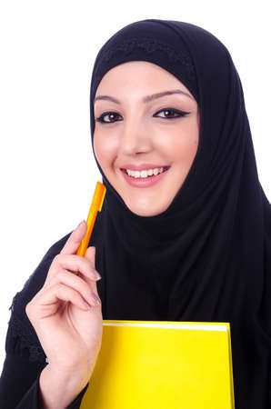 burka: Young muslim woman with book on white