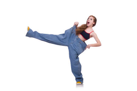 Frau in Diät-Konzept mit großen Jeans Standard-Bild