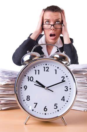 Woman businesswoman with giant alarm clock Stock Photo - 20574322