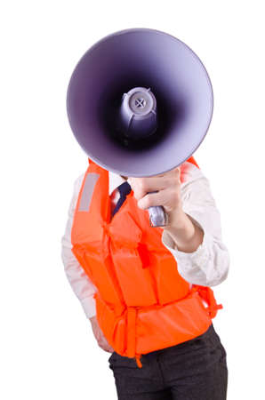Young woman with vest and loudspeaker on white Stock Photo - 20042109