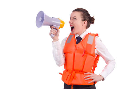 Young woman with vest and loudspeaker on white Stock Photo - 21058672