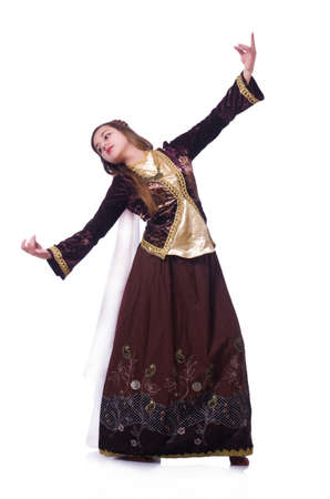 Young lady dancing traditional azeri dance Stock Photo - 21086730
