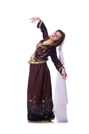 Young lady dancing traditional azeri dance Stock Photo - 21086731