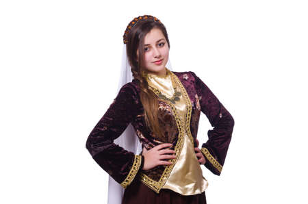 Young lady dancing traditional azeri dance Stock Photo - 21086733
