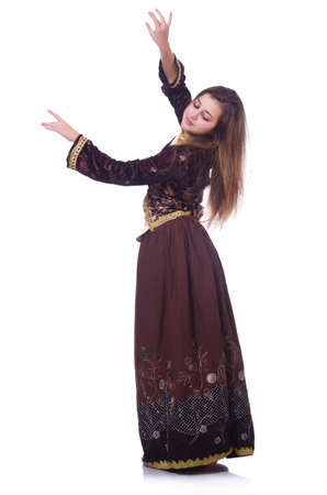 azeri: Young lady dancing traditional azeri dance