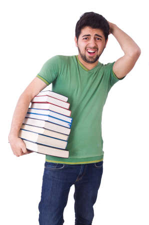 Student with lots of books on white photo