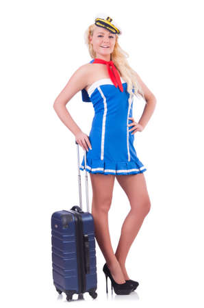 Woman travel attendant with suitcase on white Stock Photo - 20080554