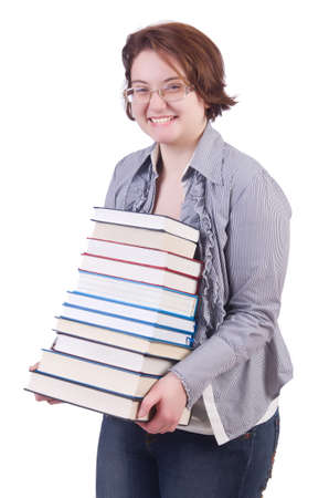 Girl student with books on white photo