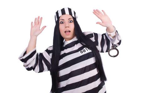 Prisoner in striped uniform on white Stock Photo - 20080567