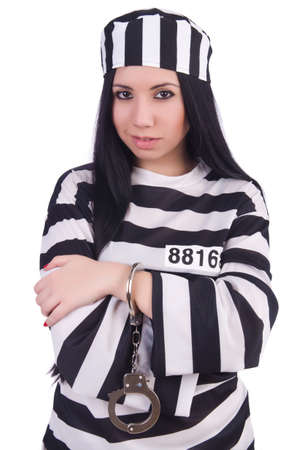Prisoner in striped uniform on white Stock Photo - 20080591