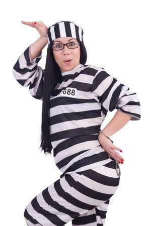 Prisoner in striped uniform on white Stock Photo - 20080569