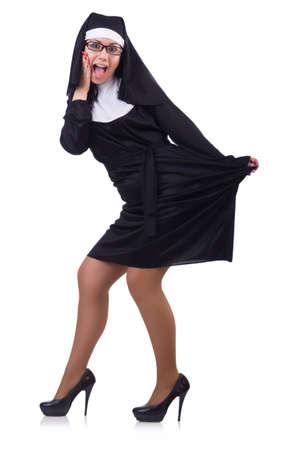 nun: Funny nun isolated on the white