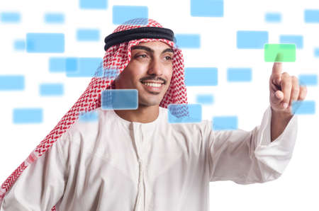 Arab pressing virtual buttons Stock Photo - 20074336