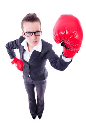 Woman with boxing gloves on white Stock Photo - 20074331
