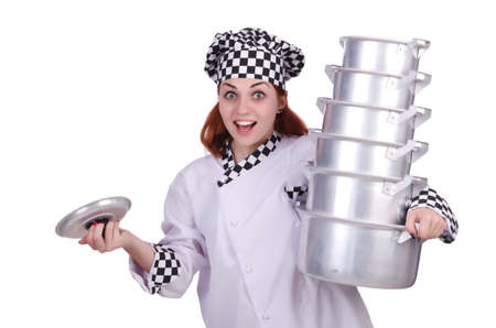Cook with stack of pots on white Stock Photo - 20074329