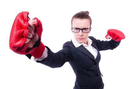 Woman with boxing gloves on white Stock Photo - 20574389