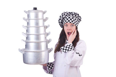 Cook with stack of pots on white Stock Photo - 20080553