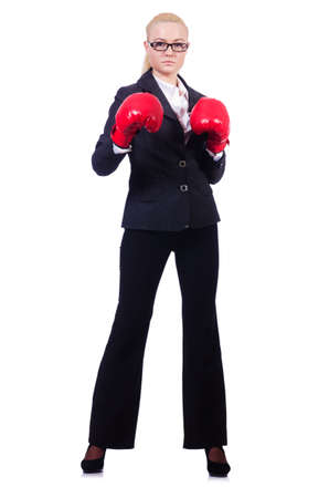 Woman businesswoman with boxing gloves on white Stock Photo - 20080490