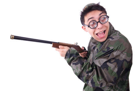 Funny soldier isolated on the white Stock Photo - 20574390