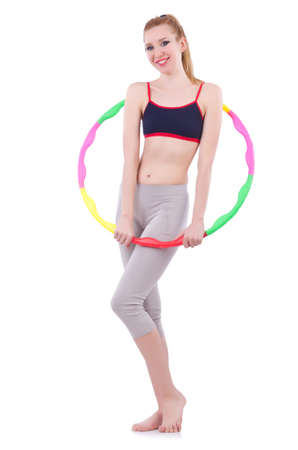 Woman doing exercises with plastic hoop Stock Photo - 21086864