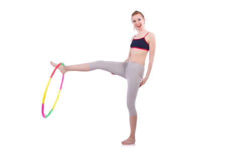 Woman doing exercises with plastic hoop Stock Photo - 21086868