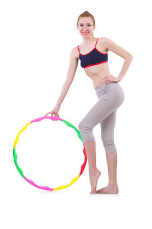 Woman doing exercises with plastic hoop Stock Photo - 21086760