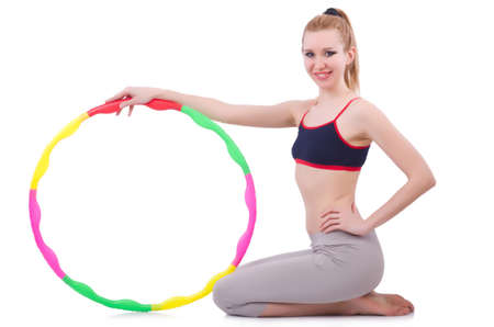Woman doing exercises with plastic hoop Stock Photo - 21086865