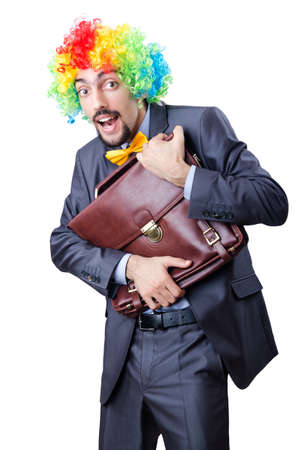 Clown businessman isolated on white photo