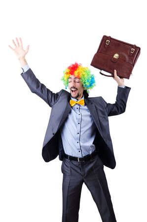 Clown businessman isolated on white Stock Photo - 20074390