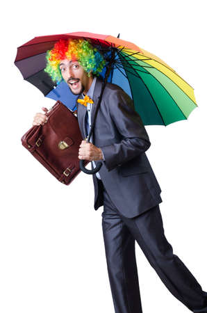Clown businessman isolated on white Stock Photo - 20074392