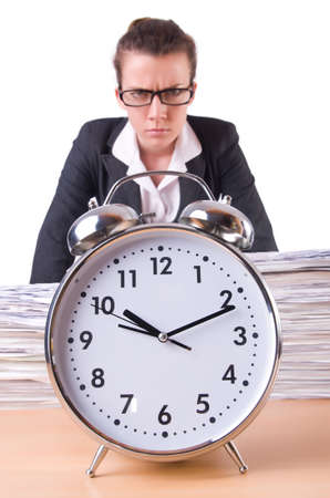 Woman businesswoman with giant alarm clock Stock Photo - 21029639