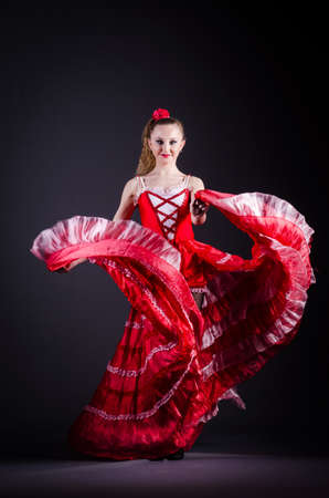 Girl in red dress dancing dance Stock Photo - 21110364