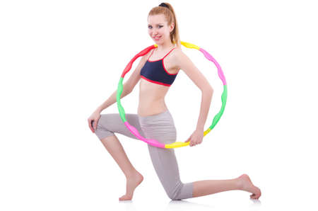 Woman doing exercises with hoop Stock Photo - 21058846