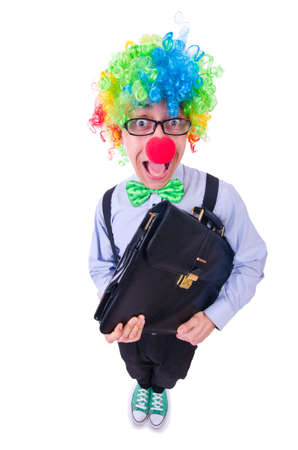 Clown businessman isolated on white Stock Photo - 21029861