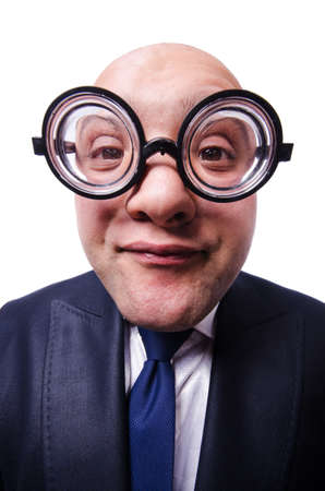 Funny man with glasses on white Stock Photo - 21012005