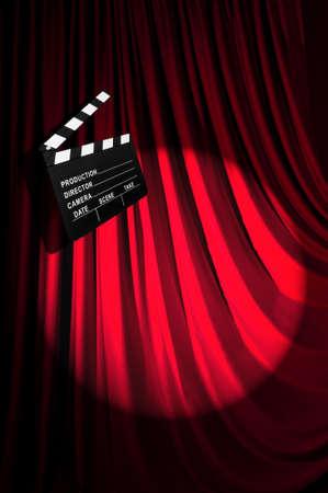 Movie clapper board against curtain Stock Photo - 20838796