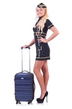 Woman travel attendant with suitcase on white Stock Photo - 21077134