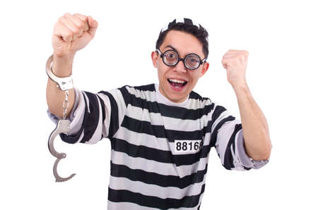 Funny convict isolated on the white Stock Photo - 21112329