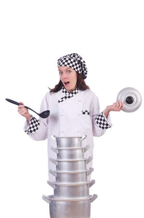 Cook with stack of pots on white Stock Photo - 21084442