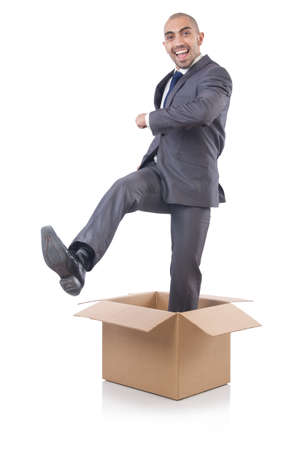Businessman with box isolated on the white Stock Photo - 21792506