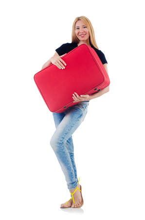 Woman preparing for vacation on white Stock Photo - 22046763