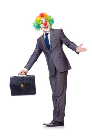 Zakenman clown geïsoleerd op wit Stockfoto