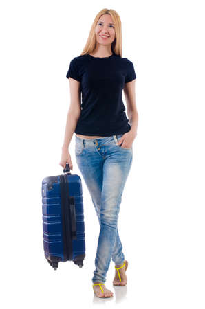 Woman preparing for vacation on white Stock Photo - 22128395