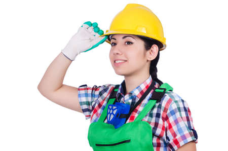 Young woman in green coveralls Stock Photo - 22277892