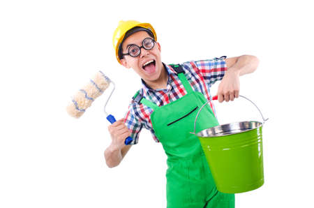 Funny painter isolated on white Stock Photo - 22273333