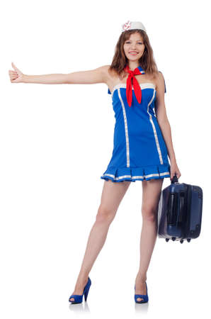 Woman travel attendant with suitcase on white Stock Photo - 22311477
