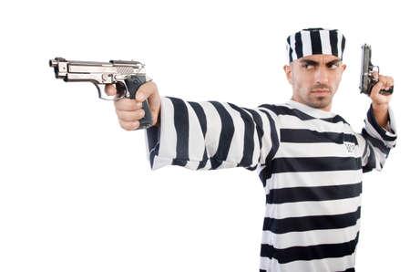 Prisoner with gun isolated on white Stock Photo - 22475710